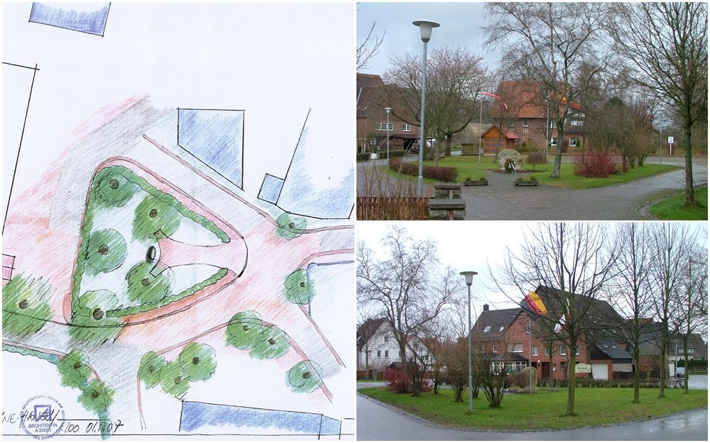 Dorfplatz mit Gedenkstein Steinheim - Rolfzen
