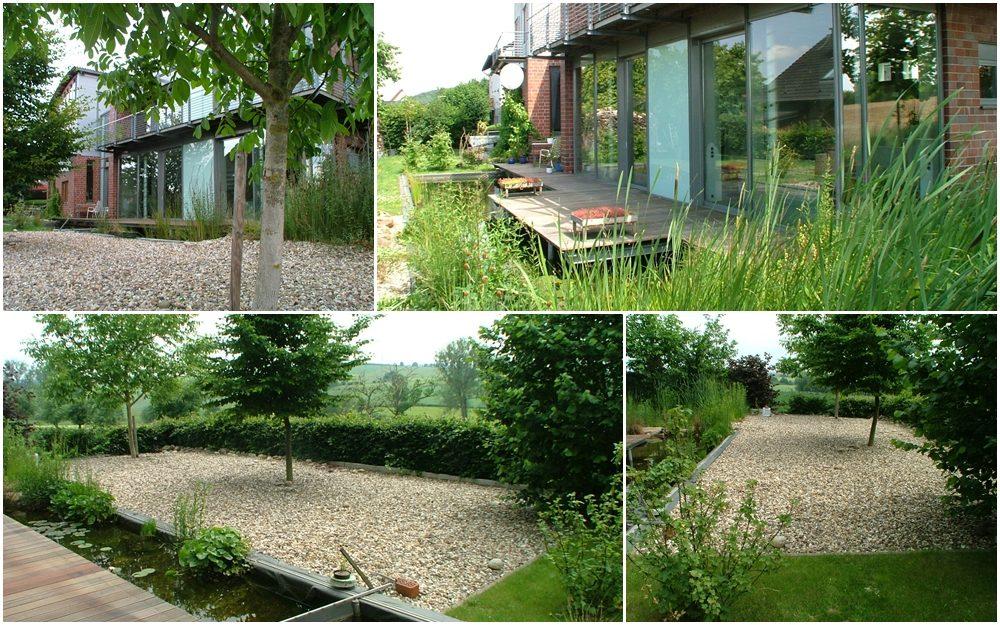 Kies-, Rasen- und Teichfläche mit Bankirai-Terrasse