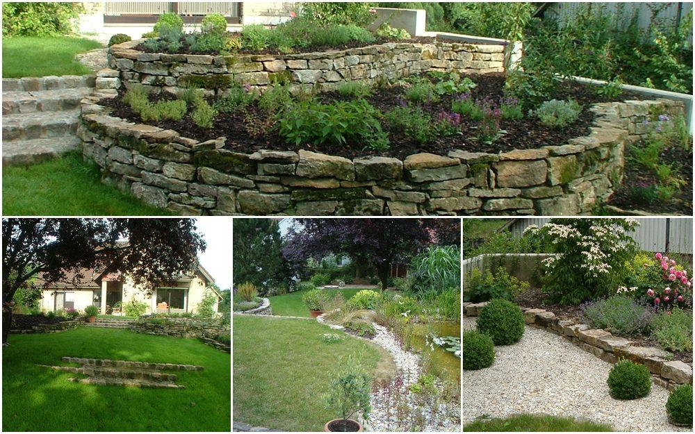 Etagengarten mit Grün-, Kies- und Wasserflächen