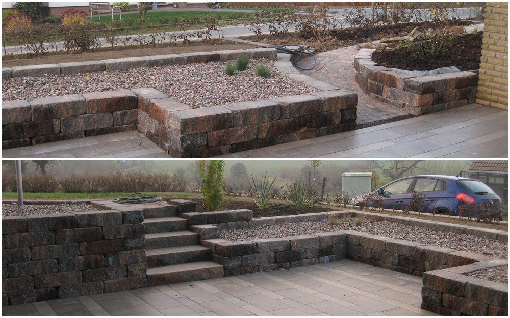 Terrasse mit Natursteineinfassung