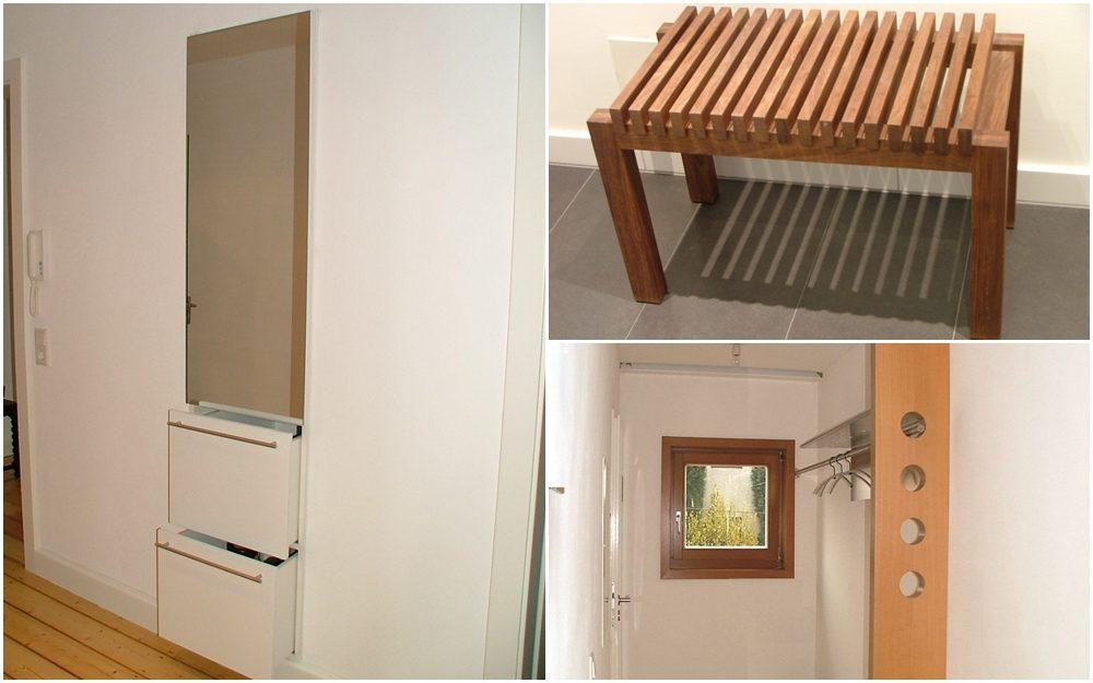 Wandschrank, Garderobe und Badhocker