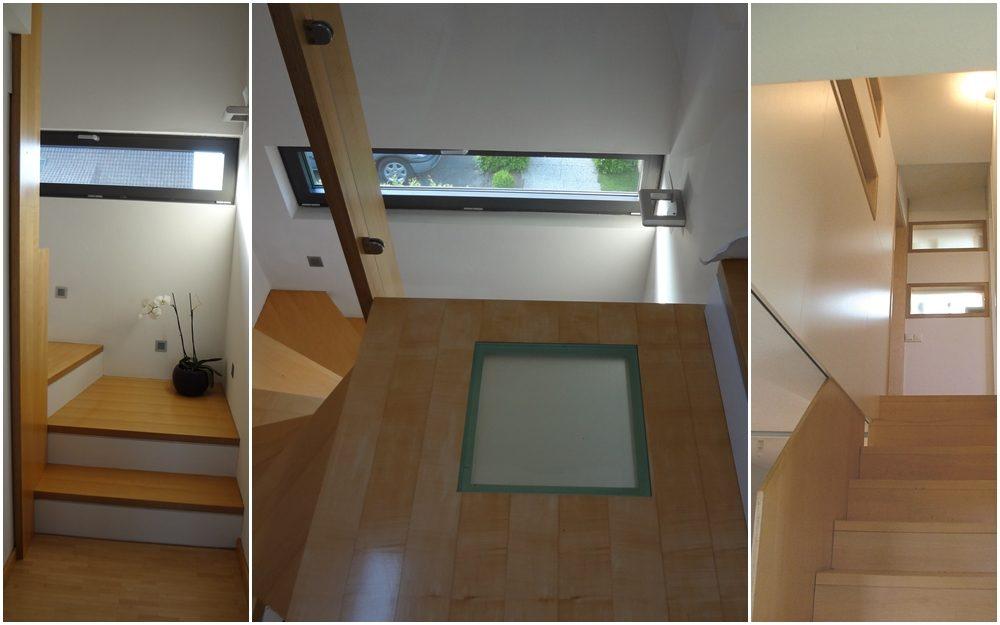 Holzkonstruktion mit eingelassenem Glasboden